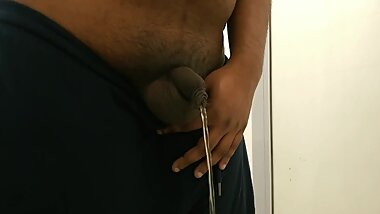 A Nice Long Piss & Shaking Off My Uncut Cock